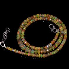 """47CRTS 3.5to6MM 18"""" ETHIOPIAN OPAL FACETED RONDELLE BEADS NECKLACE OBI3087 #OPALBEADSINDIA"""