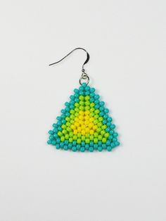 Blue Green and Yellow Beaded Triangle Earrings