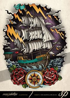 Sailboat on Stormy Seas Tattoo by Sam-Phillips-NZ on DeviantArt Storm Tattoo, Sea Tattoo, Tiny Tattoo, Small Tattoos, Traditional Ship Tattoo, Tatuajes Irezumi, Tatto Old, Desenhos Old School, Dessin Old School