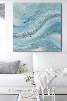 """""""Exuberance"""" Original Art Blue Abstract Painting. Soft aqua blue green white sea foam green grey textured abstract painting, Palette Knife Painting Coastal Home Decor Wall Art 40x40"""" Canvas. Wonderful, lively movement and depth in a modern, expressionist style. Perfect for modern contemporary coastal home decor, urban farmhouse decor. Contemporary Artist, Christine Krainock"""