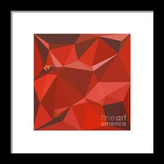 Auburn Red Abstract Low Polygon Background Framed Print By Aloysius Patrimonio