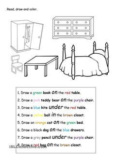 Read, draw and color. - English ESL Worksheets for distance learning and physical classrooms English Prepositions, English Grammar Worksheets, English Vocabulary, Prepositions Worksheets, Education English, Teaching English, English Lessons, Learn English, English English