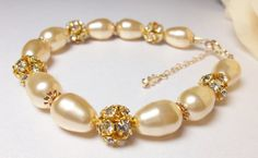Beautiful light Gold Pearl Bracelet with Gold by QueenMeJewelryLLC, $56.00