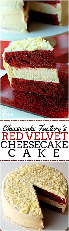 Red Velvet Cheesecake Cake - The Cheesecake Factory copycat recipe! Do It Yourself Essen, Cupcakes, Cupcake Cakes, Red Velvet Cheesecake Cake, Velvet Cake, Raspberry Cheesecake, Oreo Cheesecake, Pumpkin Cheesecake, Just Desserts