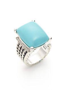 Estate Jewelry Turquoise & Pave Diamond Multi-Band Ring - David Yurman on Gilt.com