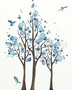 Light Blue Wall Art 16 x 20 Print for Home Decorating, Tree Art Bedroom Decor, Office Wall Art, Inte Office Wall Art, Office Walls, Watercolor Circles, Tree Branches, Trees, Light Blue Walls, Tree Art, Shades Of Blue, Bedroom Decor