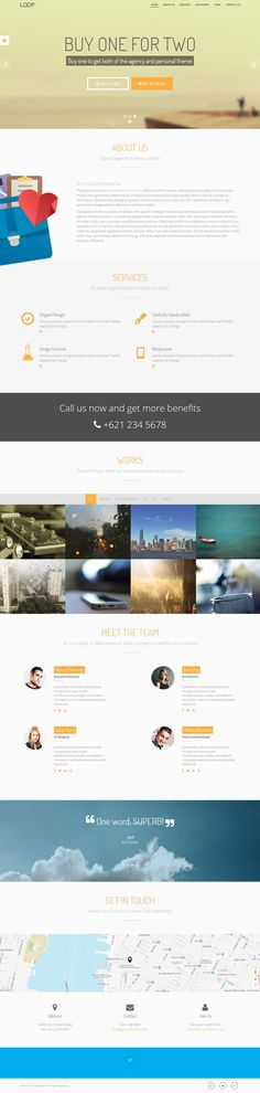 Loop is a great #Bootstrap theme for your #agency or just as your personal #portfolio. For each version you will get three different headers from image slideshow, static image or fullscreen video background.