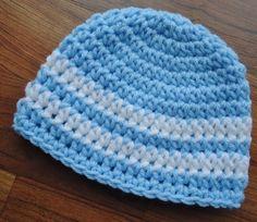 Crocheted Blue Baby Boy Hat Baby Shower Gift by KaraAndMollysKids, $14.00