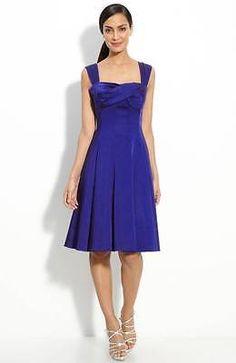 Maggy London Criss Cross Bodice Stretch Satin Dress Blue 6