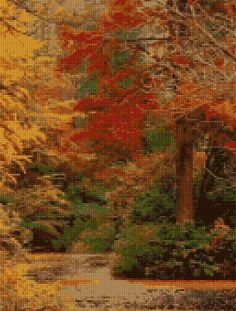 Autumn Forest Cross stitch pattern PDF - EASY chart with one color per sheet AND traditional chart! Two charts in one! by HeritageCharts on Etsy
