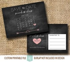 Chalkboard Save the Date with Calendar by AestheticJourneys