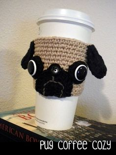 Crochet Pug Coffee Cozy