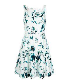 Sleeveless Square Neck Dress, Milkshake/Teal Print, hi-res