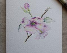 Rose cornouiller aquarelle peinte carte - impressions seulement