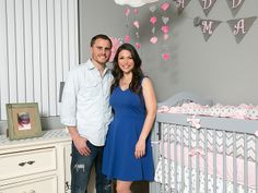 The Bachelorette's DeAnna Pappas Stagliano welcomed her daughter Addison in February, and she's sharing her lovely soft gray and pink nursery with us today. Project Nursery, Nursery Decor, Paisley Nursery, Celebrity Nurseries, Cool Baby Names, Mom Daughter, Bridesmaid Dresses, Wedding Dresses, Nursery Neutral