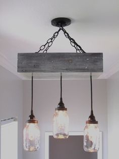 Farmhouse Light Fixtures and Its Pros and Cons : Farmhouse Ceiling Light Fixtures. Mason Jar Chandelier, Rustic Chandelier, Mason Jar Lighting, Chandelier Lighting, Branch Chandelier, Outdoor Chandelier, Farmhouse Lighting, Rustic Lighting, Home Lighting