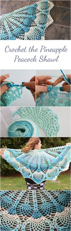 Pineapple Peacock Shawl - Step-by-step Tutorial to crochet this pattern #crochetblankets