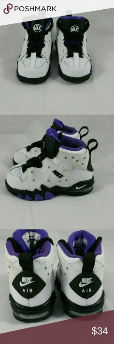 Youth Charles Barkley Nike Air Max 2 *box not available  Size - 6C Color: White/Purple/Black/Reflective Grey Material: 100% Synthetic - Upper; 100% Rubber - Outsole Large volume Max Air? unit in the heel Mesh accents on vents Elastic stretch bands and lace up Embossed/embroidered & laser cut graphics Ventilation holes Non-marking solid rubber outsole Molded synthetic leather upper Nike Shoes Sneakers