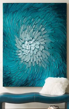 If you're going to make a statement about your love of the dramatic and colorful, we recommend that you go big – completely change the look of a room with our monumentally proportioned Blue Flora Artwork.