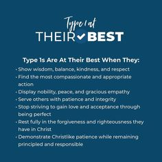 As you look at the qualities a Type 1 exhibits when they are aligned with the truth of the Gospel and walking in hope and freedom, you may… Enneagram Type One, Enneagram Types, Infj Personality, Type I, Sweet Words, Get To Know Me, Emotional Intelligence, Mbti, Best Self