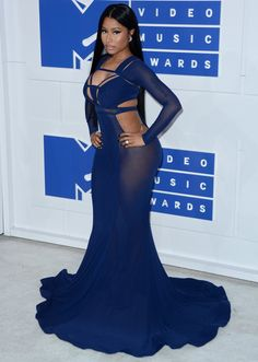 Nicki Minaj wearing a revealing number by Bao Tranchi at the 2016 MTV Video Music Awards held at Madison Square Garden in New York City on August 28, 2016