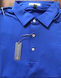 NEW Men's Peter Millar Summer Comfort E4 Solid York Blue Polo Golf Shirt Size M  | eBay