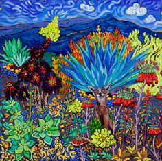 COYOTE WONDERLAND by Cathy Carey - oil