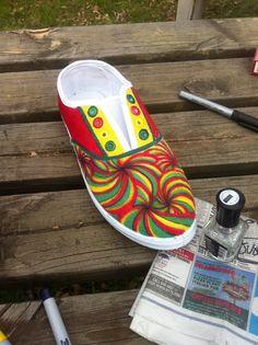 DIY rasta sharpie shoes