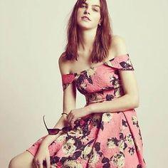 TOPSHOP-Pink-Off-Shoulder-Bardot-Floral-Jacquard-Prom-Summer-Dress-UK8-EU36-US4