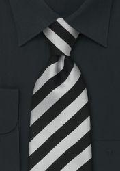Gestreifte XXL-Krawatte in Schwarz und hellem Silber günstig kaufen