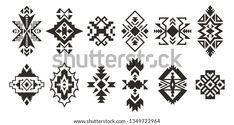 Set Tribal Decorative Elements Isolated On Stock Vector (Royalty Free) 1349722964 Native American Patterns, Native American Design, Navajo Pattern, Pattern Art, Vector Background, Background Patterns, Trible Tattoos, Berber Tattoo, Egypt Tattoo