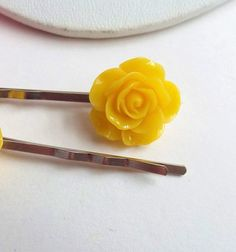 Yellow Rose bobby pins Pair of Flower barrettes by ThomiGirlPink