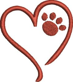 FavPro Designs Embroidery Design: Heart Paw 2.59 inches H x 2.33 inches W