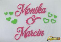 Pracownia Dekoracji ARQ - DECOR - Monika & Marcin, Imiona Nowożeńców , Pary Młodej (NA ZAMÓWIENIE) nr 120 Dekoracje Ślubne