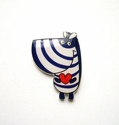 Free shipping Zebra brooch pin Animal brooch pin by Dinabijushop