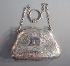 Edwardian sterling silver finger or dance purse, 1908