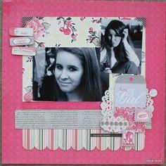 """Pretty Girl"" Scrapbook Layout by Authentique Paper DT member Natalie Dever"