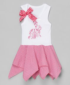 Look what I found on #zulily! Pink Damask Bunny Handkerchief Dress - Infant, Toddler & Girls #zulilyfinds