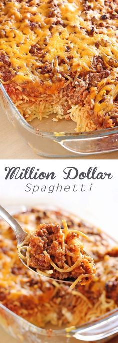 Million Dollar Spaghetti - Delicious Baked Spaghetti with a few new ingredients to enhance traditional spaghetti recipes.  Once you try this dish, you'll never go back!