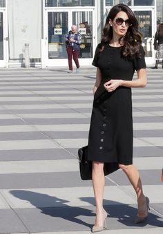Amal Clooney's Simple Black-and-White Outfits Are All We Want to Wear This Spring Amal Clooney, George Clooney, Outfits Blanco, Amal Alamuddin Style, Zac Posen, Cobalt Blue Dress, Marc Jacobs, Short Sleeve Dresses, Dresses With Sleeves
