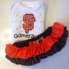san francisco giants baseball ruffles by StitchItUpBoutique, $40.00  @Courtney Douglas  you're nugget is gonna need this in 'her' closet!!