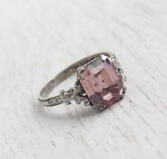 Antique Art Deco Pink Stone Sterling Silver Ring by MaejeanVINTAGE, $32.00