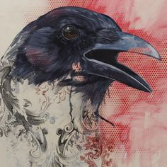 Animal Paintings Mix Design with Art-Historical References: Bryan Holland Crow Art, Raven Art, Bird Art, Found Art, Artist Painting, Painting Styles, Animal Paintings, Bird Paintings, Watercolor Bird