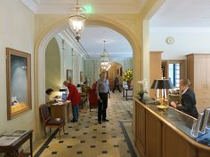 Brenners Park Hotel & Spa lobby, one of Germany's top spa hotels. Read more at http://wanderingcarol.com/baden-baden-honeymoon-brenners-park/
