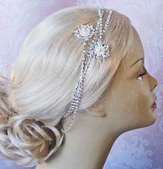 Crystal and Pearl Bridal Headband, Wrap Headband, Swarovski Crystal and Pearl Chain Wedding Headpiece - ZARA