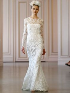 Oscar de la Renta 2016 Long sleeve wedding dress Abito da sposa a manica lunga