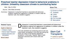 Preschool teacher depression linked to behavioral problems in children: Unhealthy classroom climate is contributing factor Class Management, Behavior Management, Research In Education, Pre School, Depression, Kindergarten, Articles, Teacher, Classroom