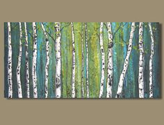 abstract painting birch tree forest painting by SageMountainStudio