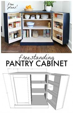 A DIY tutorial to build a freestanding kitchen pantry cabinet with free plans. A DIY tutorial to build a freestanding kitchen pantry cabinet with free plans. Make your kitchen functional with accessible storage and more counter space! Kitchen Pantry Cabinets, Diy Cabinets, Kitchen Storage, Dvd Storage, Storage Ideas, Craft Storage, Space Kitchen, Pantry Storage, Small Storage