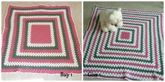 Baby Blanket Pink White Gray Crocheted  $45 + $12 shipping  Crocheted with very soft acrylic yarn. Candy Pink, White & Gray stripes (shown) Perfect baby gift  READY TO SHIP BEAR NOT INCLUDED The blanket on the right will be donated to charity.